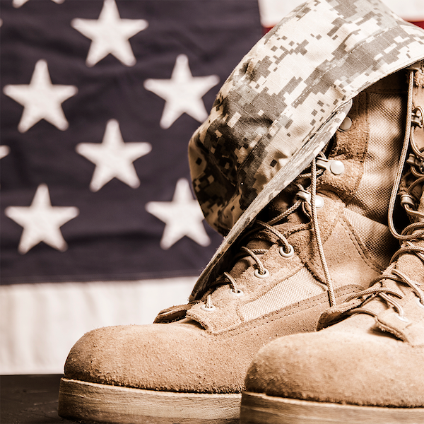 Veterans Link Button Image -  military boots in front of a US flag